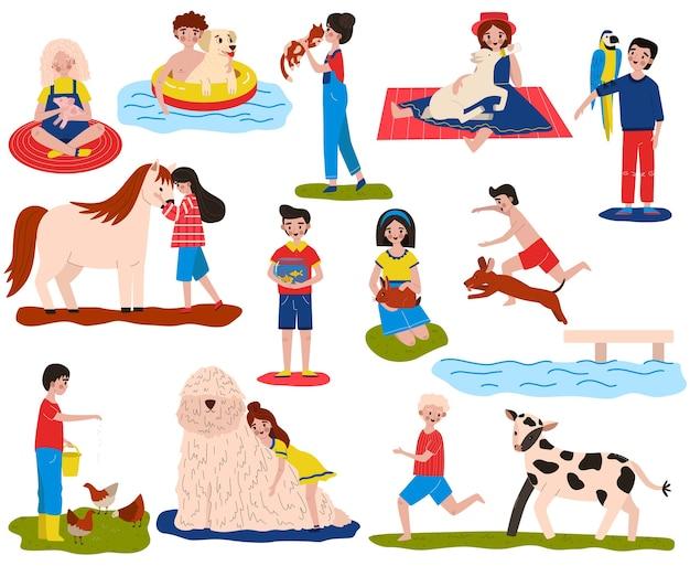 어린이 애완 동물 벡터 일러스트 레이 션 세트, 만화 평면 행복 소유자 자식 캐릭터 동물, 포옹, 먹이 및 관리 애완 동물과 함께 재생
