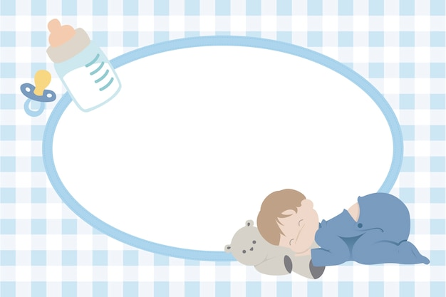Children photo frame with baby boy sleeping