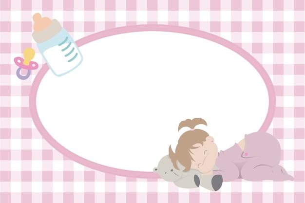 Children photo frame with baby girl sleeping