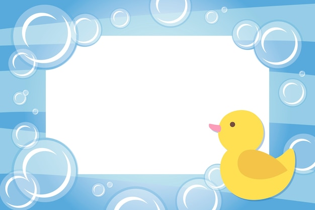 Children photo frame with rubber ducky