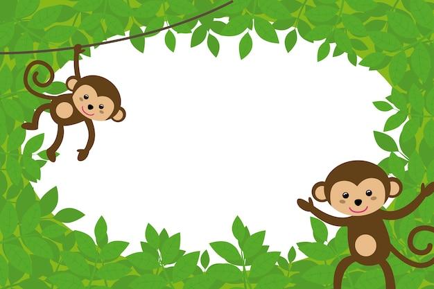 ジャングルのサルと子供の写真のフレーム