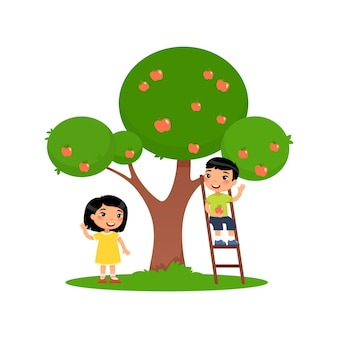 Дети собирают яблоки милый азиатский мальчик сидит на лестнице