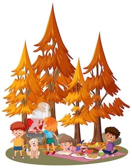公園での子供たちのピクニック