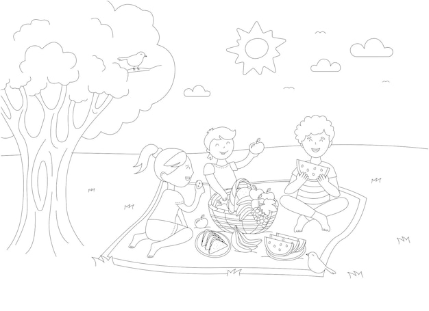 Children at picnic. vector black and white coloring page.