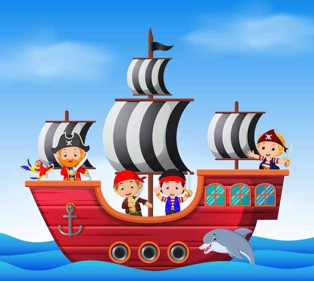 Children on pirate ship and ocean scene