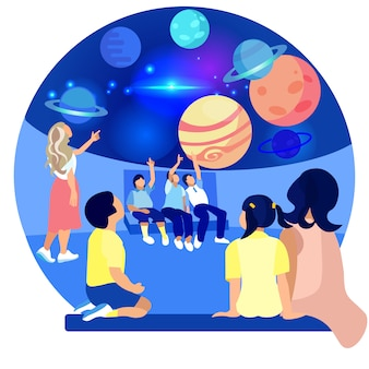 Children in planetarium study planets. vector.