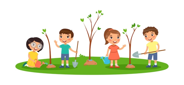 Children plant trees. cute little boys and girls with spades and watering cans. the concept of ecology and the environment.
