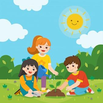 子供たちは、水まき缶から若い木を植え、水をまきます。地球を守る。ベクトルイラスト。