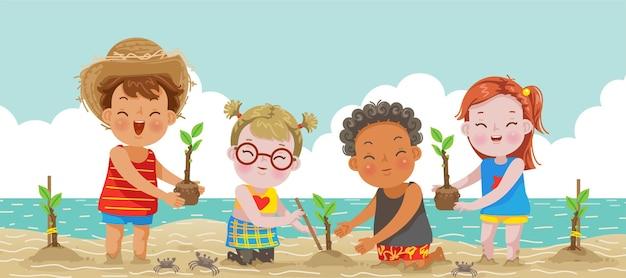 植樹をする子供たち子供たちは植樹エコツーリズムで世界を救う