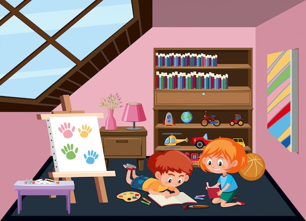 Children plating toy at attic room