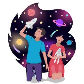 Дети играют в космонавтов и мечтают о космическом путешествии