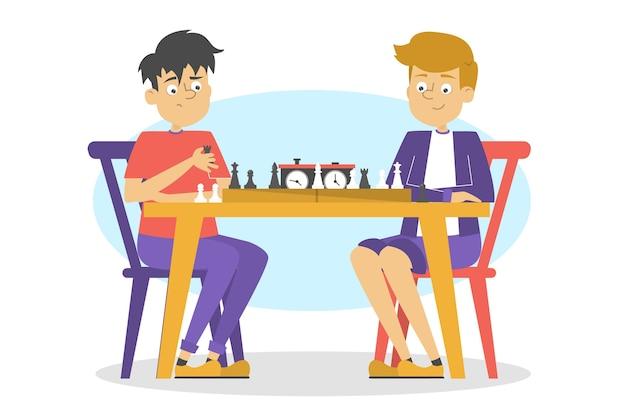 子供たちはチェスをします。チェス盤でテーブルに座っている少年。チェスのトーナメント。漫画のスタイルのイラスト