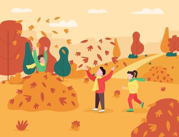 子供たちは葉の山のセミフラットイラストで遊ぶ。秋のキッズゲーム。男の子と女の子は秋の公園で一緒に時間を過ごします。未就学児の商用利用のための2d漫画のキャラクター