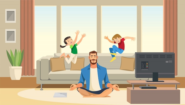 Children play and jump on sofa behind calm and relaxing meditation father