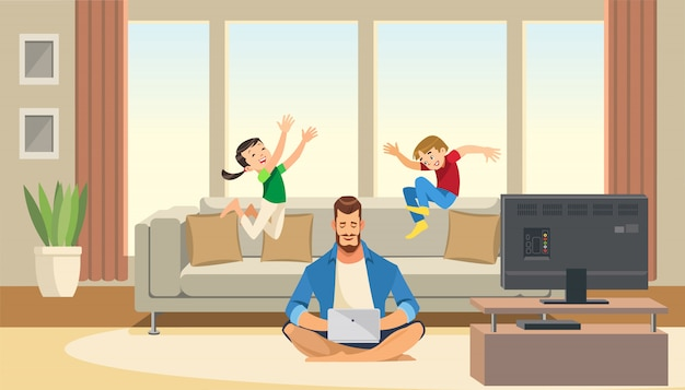 Children play and jump behind working business father