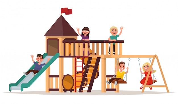 子供たちは白い背景の上の遊び場で遊ぶ。図