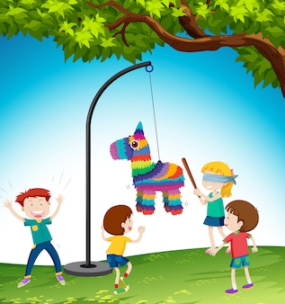 Children play pinata donkey illustration