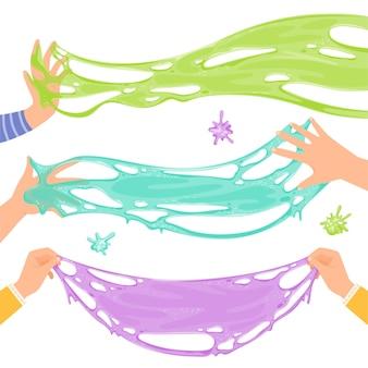 아이들은 슬라임을 재생합니다. 어린이 손에 재미있는 밝은 슬로건을 뻗었습니다. 흰색 배경에 고립.