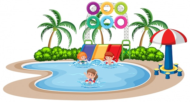 Children play at water park