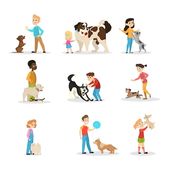 Children play with their dogs set. collection of happy kid