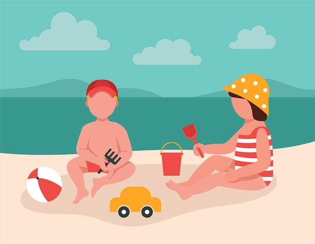 아이들은 바다의 모래에서 장난감을 가지고 놀습니다. 아이들과 함께 휴가 개념. 만화 귀여운 캐릭터