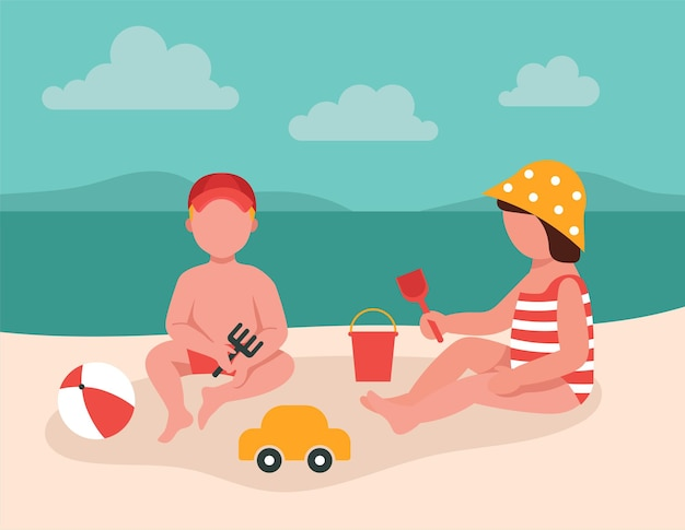 Children play with toys in the sand by the sea. vacation concept with children. cartoon cute characters