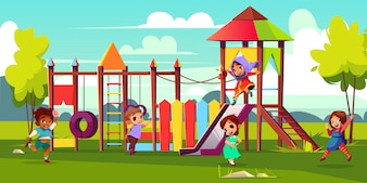 Children playground cartoon illustration with multinational, preschooler kids characters