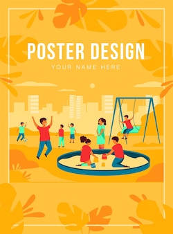 Children on playground concept. happy kids swinging, kicking soccer ball, playing in sandbox. boys and girls enjoying leisure time outdoors. can be used for for outdoor activities, childhood topics
