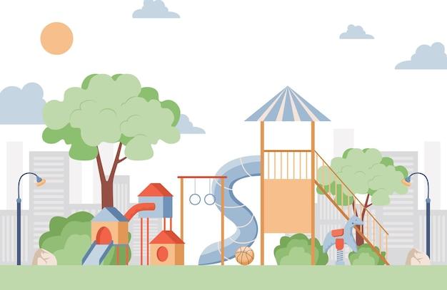 Детская площадка плоская иллюстрация