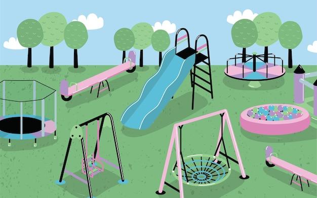 Иллюстрация детской площадки в мультяшном стиле