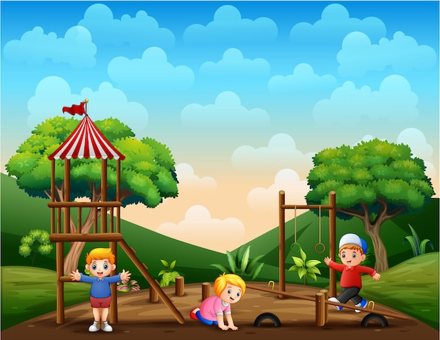 Children in the playground illustration