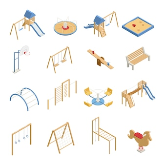 Children playground set of isometric icons with swings, slides, basketball hoop, sandbox, climbing frames isolated