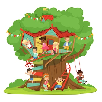Дети играют и веселятся в домике на дереве, детская площадка с качелями и лестницей красочные подробные иллюстрации на белом фоне