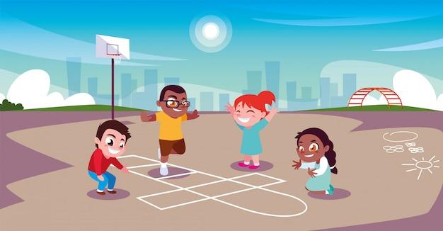 도시 공원에서 스포츠를하고 노는 아이들
