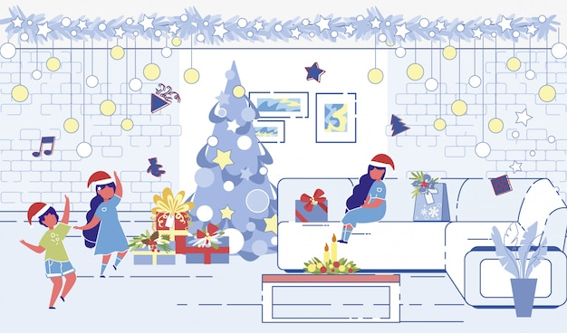 Children playing around decorated christmas tree