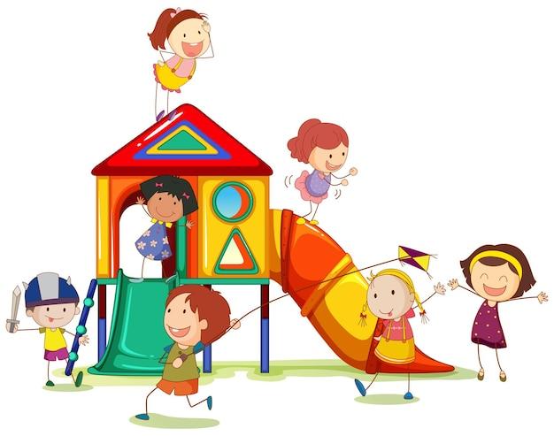 Children playing around the playhouse