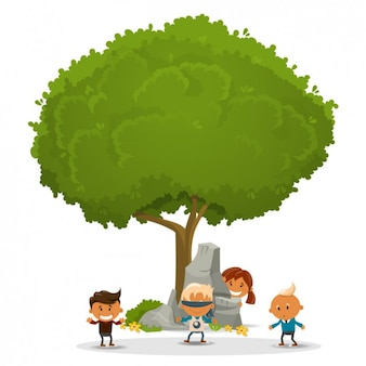 Children playing around a tree