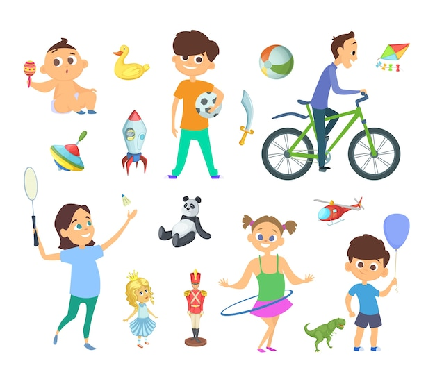 さまざまなゲームやおもちゃで遊んでいる子供たち。漫画風に設定された文字。おもちゃ、キャラクター、女の子と男の子のゲームイラストで遊ぶ子供