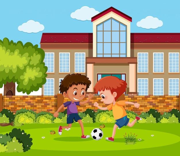 축구에서 노는 아이들