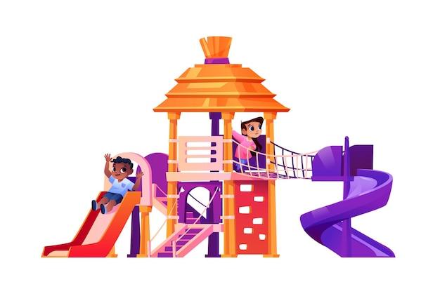 Дети играют на детской площадке, скользя вниз вектор
