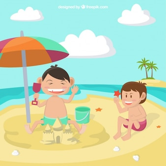 浜のイラストで遊んでいる子供たち