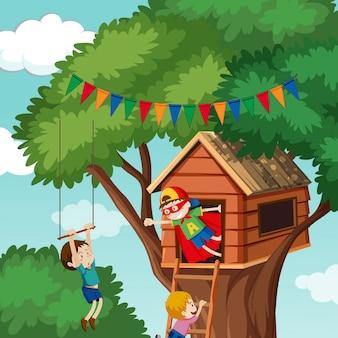 나무 위의 집에서 노는 아이들