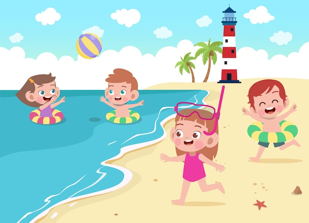 Children playing on the beach illustration
