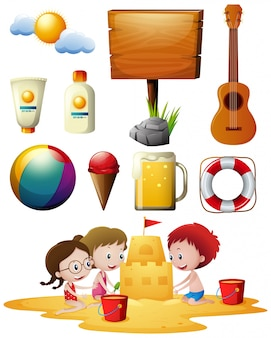 Children playing on beach and other beachware items