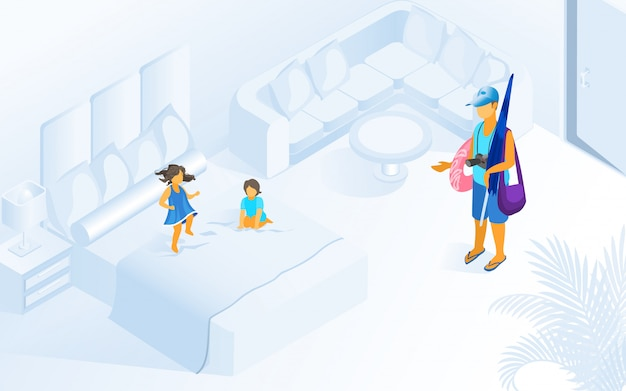 Children playing on bed hotel room illustration