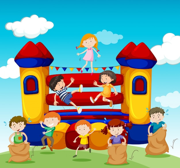 Children playing at the bouncing house illustration