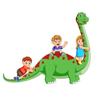 Children playing and holding the diplodocus's body and some of them sitting on it