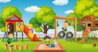 Children playing in fun playground