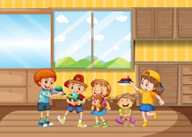 居間で遊ぶ子供たち