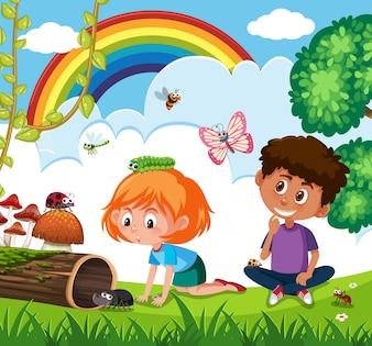 Дети, играющие в природе